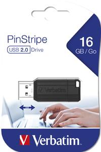 USB 2.0 PINSTRIPE 16GB NEGRO