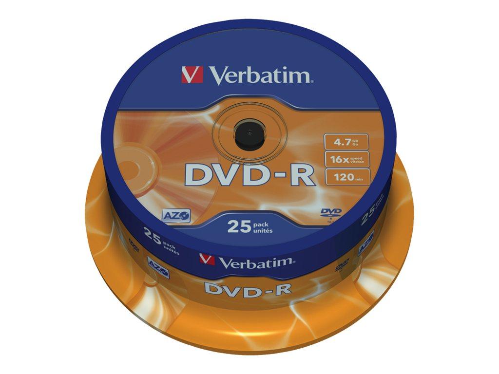 VERBATIM DVD -R 4.7GB 16X SPINDLE 25 ADVANCED AZO