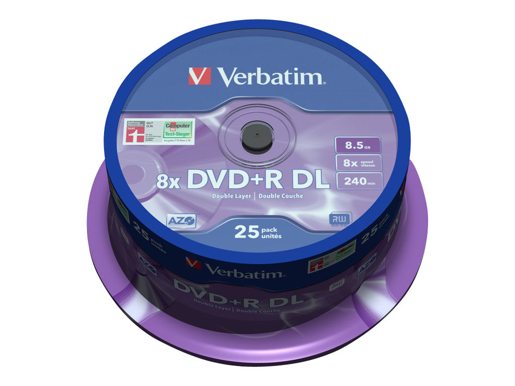 VERBATIM DVD +R DOBLE CAPA 8.5GB 8X PACK 25