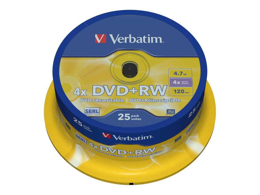 VERBATIM DVD +RW 4.7GB 4X SPINDLE 25 ADVANCED SERL
