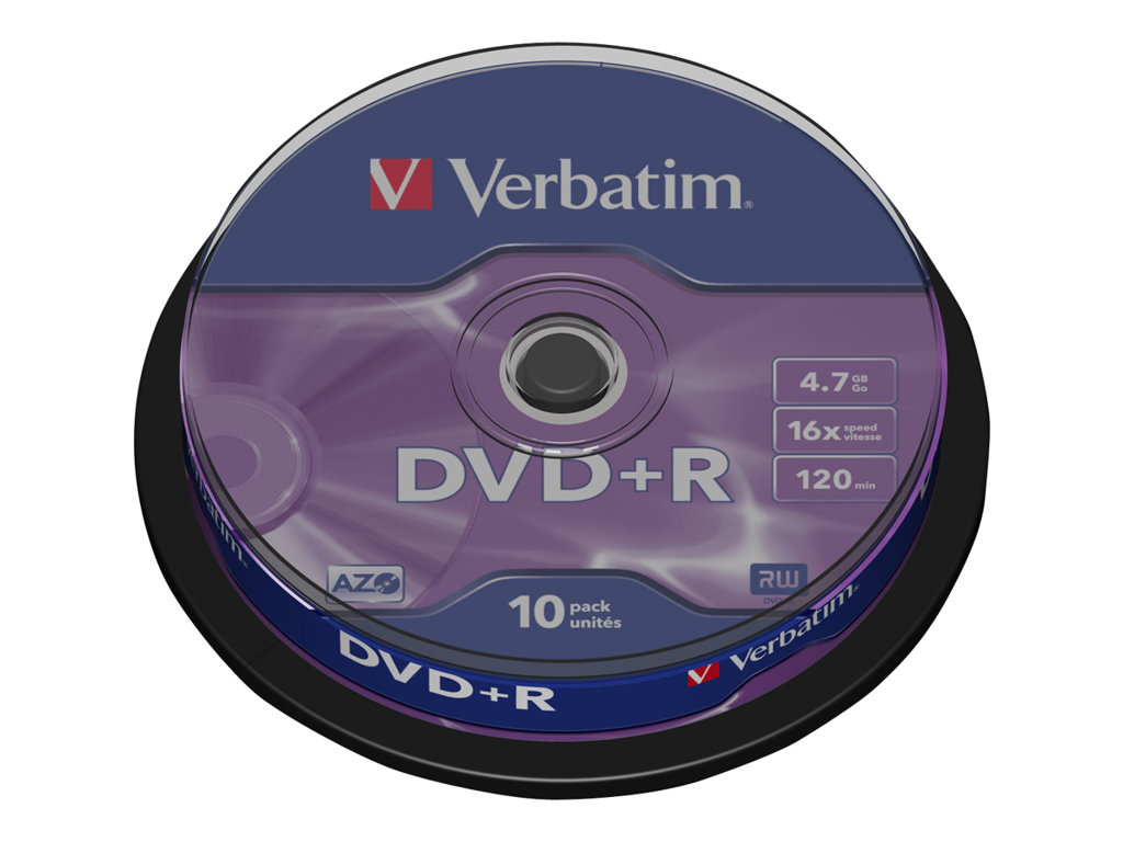 VERBATIM DVD +R 4.7GB 16X SPINDLE 10 ADVANCED AZO