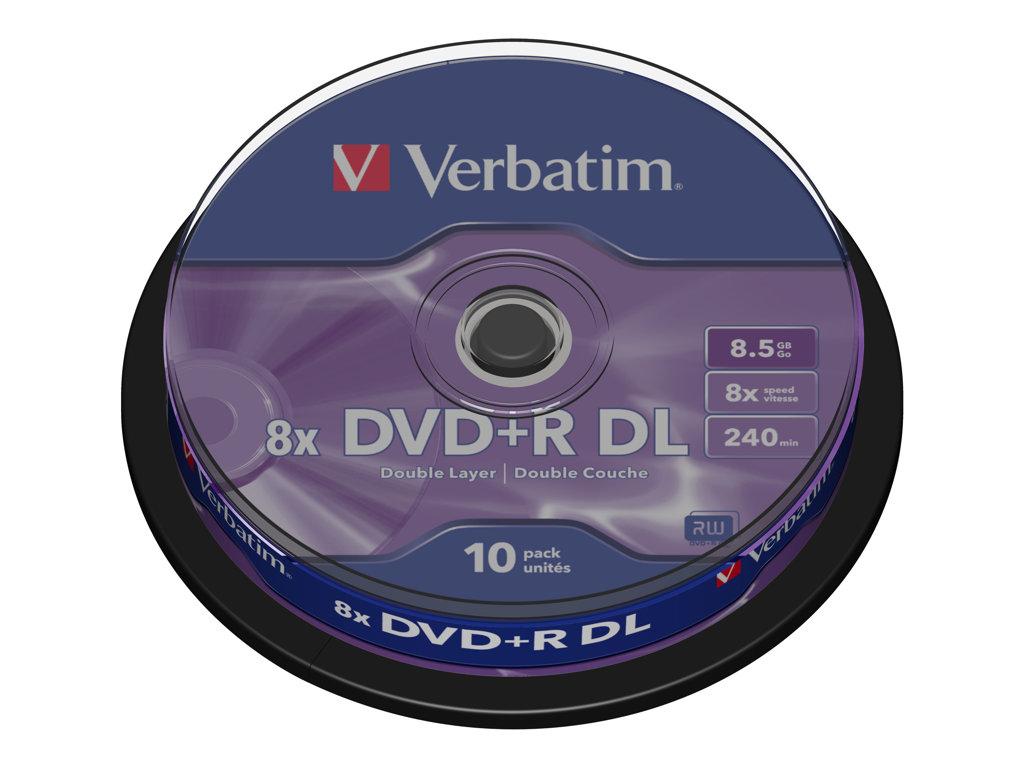 VERBATIM DVD +R DOBLE CAPA 8.5GB 8X SPINDLE 10 ADVANCED AZO