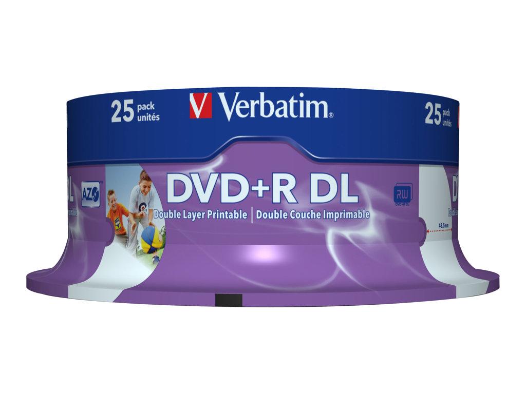 VERBATIM DVD +R DOBLE CAPA 8.5GB 8X SPINDLE 25 IMPRIMIBLE AD